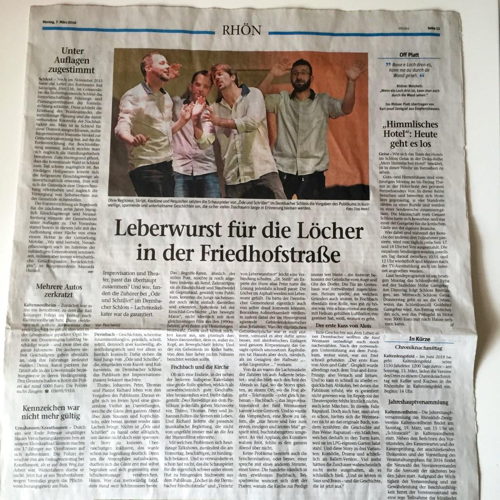 Bild Zeitungsartikel der Südthüringer Zeitung Dermbach